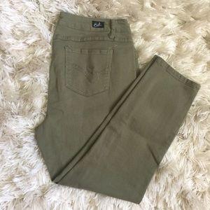 EARL jean,, olive skinny ankle jeans